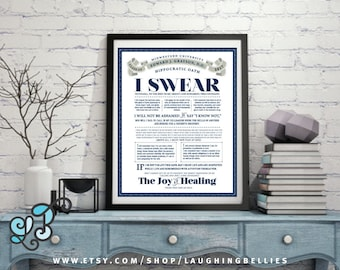 The Hippocratic Oath - Graduation Gift - Medical Doctor Physician Gift - Personalized