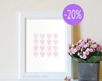 SALE Pink Nursery wall art, Nursery print decor, Baby girl nursery, Pink Watercolor Hearts wall art Printable art  #0003P
