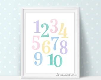 Numbers kids print, Playroom decor, Numbers wall art, Pastel nursery print, Printable kids room art, Numbers,   #0063N
