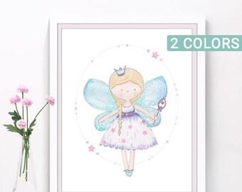 Fairy nursery art print, Girls room decor, fairy illustration, watercolor prints, fairy princess