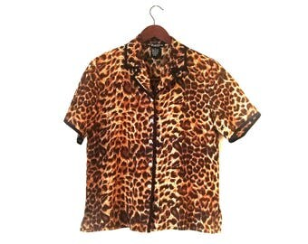 Vintage 1990s leopard animal print lingerie silk blouse