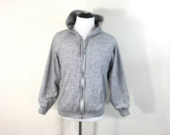 70's vintage thermal lined heather gray zip up hoodie size M