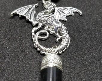 GUARDIAN DRAGON Black tourmaline protection Celtic knot fantasy Elves scales Purple