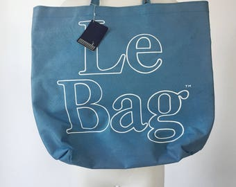 "1980s 1970s ""Le Bag"" blue canvas large tote / beach bag / farmers market tote"