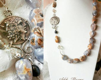 Long necklace with chalcedony and replicating ancient coin, silver and natural stones