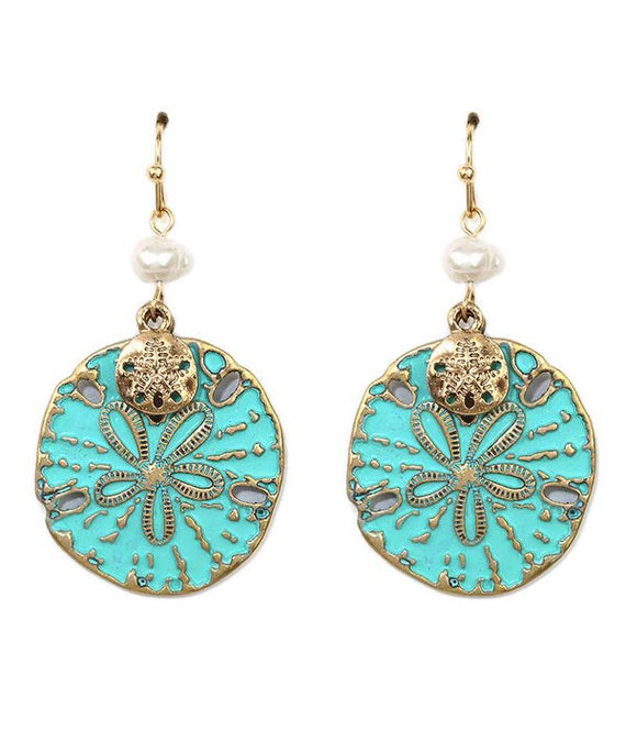 WHOLESALE-Embellished Sand Dollar Earrings, Turquoise, Coral or Black