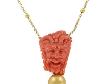 Gold Empire Antique 18K Yellow Gold cameo necklace coral Pearl gold beads