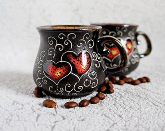 Ceramic small coffee mugs Hearts stoneware cups Girlfriend gift Love mugs Kitchen decor Valentines day gift Engagement gift Mr and mrs