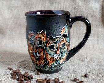 Cat mug Large ceramic coffee mug with cat design Hand painted coffee cup Cat lover gift mug Best friend mug Cat art Cat loaf Crazy cat lady