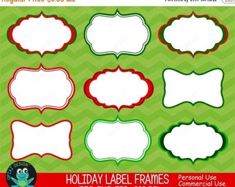 75% OFF SALE Christmas Label Frames, Vector Graphics, Commercial Use, Holiday Gift Tags, Digital Images - UZ623