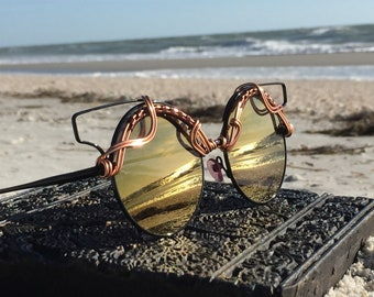 Cat Eye Glasses Copper Round CAT EYE ~ Wire Wrapped ~ SPUNGLASSES ~ Unique Retro Art Deco Boho Chic ~ Glasses Sun Eye Sunnies Free Shipping