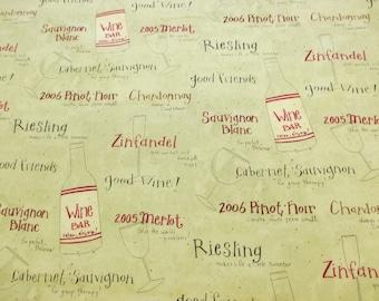 Green Wine, Wine Glasses, Wine Bottles Printed 100% Cotton Craft Fabric.