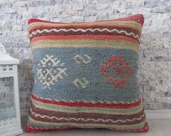 Fine Workmanship Kilim Rug Kilim Pillow 18x18 Handmade Kilim Lumbar Turkish Pillow Bohemian Pillow Rustic Pillow Throw Pillow Boho Pillow