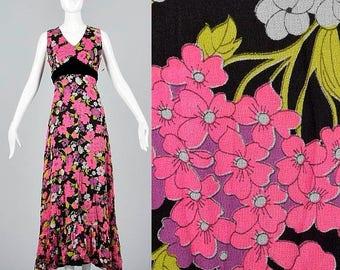 SALE Medium Flowy Maxi Dress Floor Length Bohemian Dress Vintage 1970s 70s NOS/Deadstock Sleeveless Floral Velvet Waistband