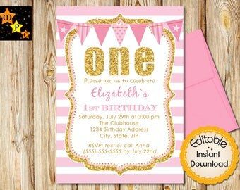Pink and Gold First Birthday Invitation, Girl Birthday, Printable Invitation, Stripes, Editable in Adobe Reader, DIY