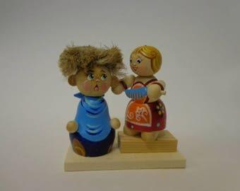"""Wooden sculpture.""""The young hairdresser"""".Russian craft.Russian carving.Wood carving.Wooden figurines.Children.Wooden souvenir.Handmade."""
