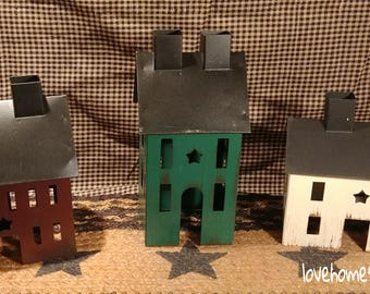 Primitive Distressed Metal Tin Saltbox Houses, Set of 3  Burgundy, Green, Cream