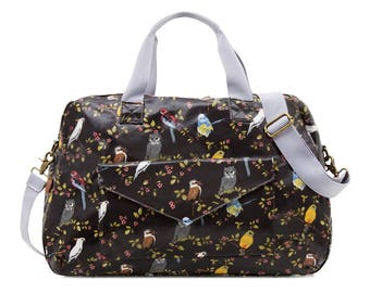 Oilcloth Overnight Bag Australia bird cockatoo Mothers Nappy bag Baby bag Diaper bag Women Travel weekend bag Ladies Duffel bag Carry on bag