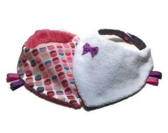 Set of 2 bandana bibs reversible girl