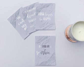 Positive Vibes - Set of 4 x A6 Foil and Marble Quotes
