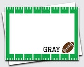 Boys Football Thank You Cards / Sports Note Card / Personalized Thank You Notes for Kids / Custom Notecard / Blank Stationery (1702-013FL)