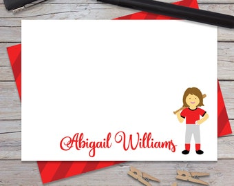 Personalized Softball Stationary for Girls, Boy Baseball Note Cards, Custom Thank You Notes, Blank Card, Sports Stationery Set (1708-022FL)