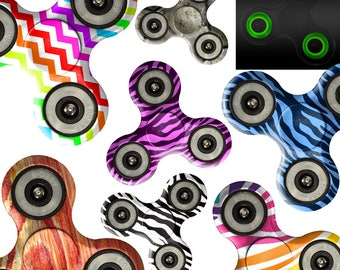 Fidget Spinner Custom Print Glow in Dark Tri Gyro Metal Ball Bearing Toy Gift / Zebra Black Rainbow Chevron Colorful Metal Shell Purple