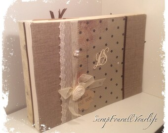 "Very elegant ""FishNet"" chocolate and ivory multipochettes wedding guestbook"