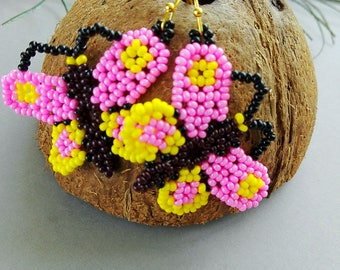 Huichol butterfly earrings, beaded earrings, gift for her, girl earrings