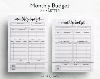 Monthly Budget, Budget Planner, A4 Printable, Letter, Financial Planner, Monthly Tracker, Income Tracker, Expense Tracker, Finance Planner