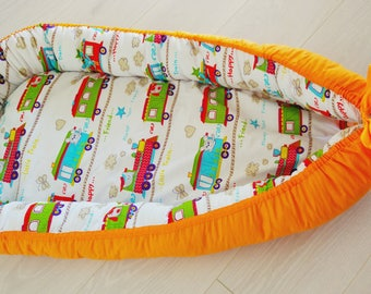Bright baby nest,cosleeper,baby shower gift,babynest,toddler co sleeper,new baby gift,gift for baby,train print,travel bed,baby cocoon