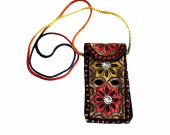 Small Embroidered Case, Needlepoint Etui, Black Padded Pouch, Neck Wallet, Crossbody Smartphone Fabrics Holder, Needlework Sleeve