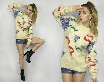 Vintage Mohair sweater / Mohair wool pullover / Woodward's sweater /  Abstract Pattern wool pullover / Warm winter sweater