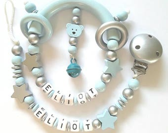 Duo clip + personalized name rattle