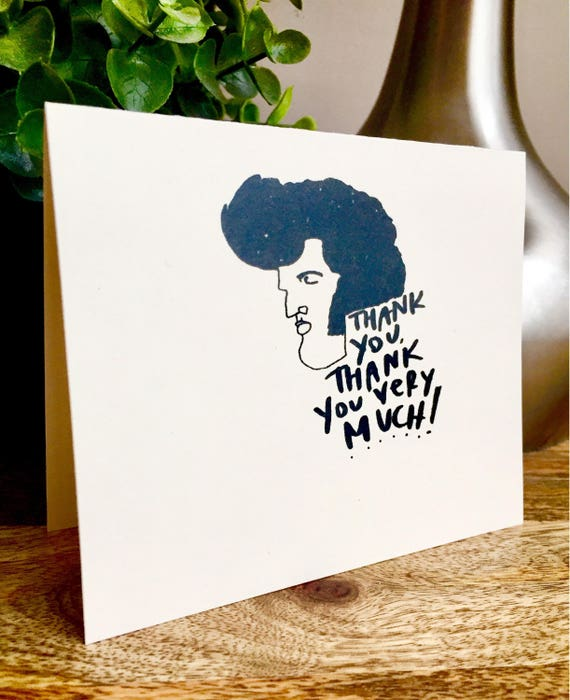 Elvis thank you card, thank you very much, vegas wedding card, handmade thank you card, wedding thank you, Just saying hello,
