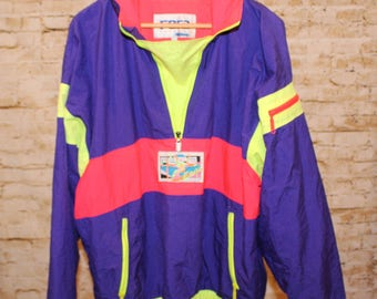 Vintage 80s Retro FERA Skiwear Parka Slouchy Nylon Half-Zip Shell Men Large Rad Neon Yellow Purple Orange Windbreaker Jacket E5-9