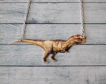 Shrink Plastic Necklace Tyrannosaurus Rex Necklace T-Rex Necklace Dinosaur Necklace Statement Necklace Dino Necklace