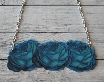 Shrink Plastic Necklace Pendant Blue Necklace Roses Necklace Floral Necklace Blossom Necklace Pretty Necklace Statement Necklace