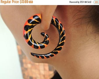 ON SALE Orange & Black Painted Curls Fake Gauges Earrings - Free Shipping