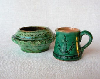 Green CUP & BOWL Vintage/ Set of 2 - Small Ceramic Cup and Bowl/ Latvian Pottery Ethnic Pattern/ Handmade/ Latvia 1970s
