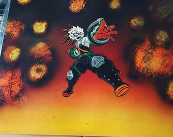 """Katsuki Bakugo """"LORD EXPLOSION MURDER"""" Spray Paint Art"""