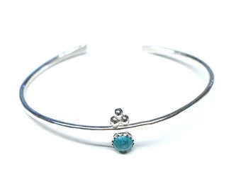 Delicate Turquoise Sterling Silver Bracelet. FREE US Standard Shipping.