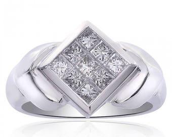 0.90 Carat Diamond Rhombus Ring 14K White Gold