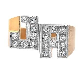 0.50 Carat Round Cut Diamonds Initial Men's Ring 14K Yellow Gold