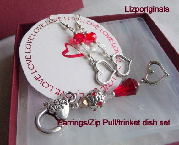 Valentines gift set - red earrings - heart zipper pull - 3 piece set - short earrings - fused glass trinket dish - heart  charm - unique