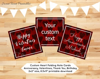 Mini note card small gift tag custom printable personalized name love heart anniversary valentines thank you birthday favor greeting card