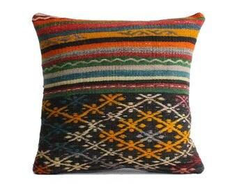 Embroidered Kilim Pillow 20x20 Decorative Multicolor Kilim Pillow Vintage Kilim Pillow Ethnic Pillow Throw Pillow Southwestern Pillow b460