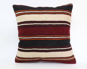 20x20 Turkish Kilim Pillow Sofa Pillow 20x20 Throw Pillow Decorative Kilim Pillow Striped Kilim Pillow Cushion Cover SP5050-1940