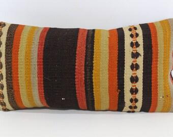 12x24 Boho Pillow Striped Kilim Pillow 12x24 Decorative Kilim Pillow Anatolian Kilim Pillow Ethnic Pillow Cushion Cover  SP3060-1168