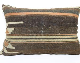 16x24 Brown Anatolian Kilim Pillow Floor Pillow Throw Pillow 16x24 Handwoven Kilim Pillow Turkish Kilim Pillow Cushion Cover  SP4060-947
